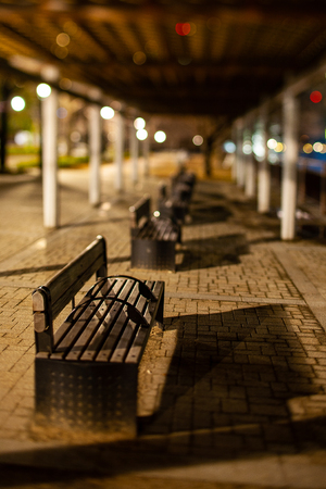 Night bench photographed in a miniature style