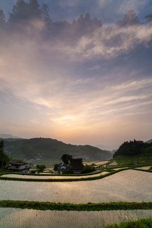 Artistic cloud terraced sunrise 스톡 콘텐츠
