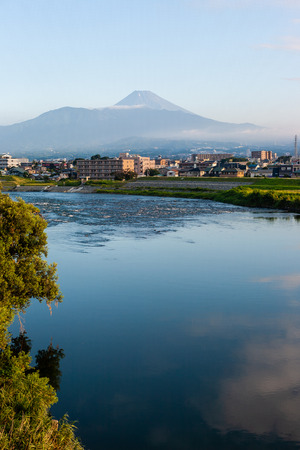 Mt. Fuji reflected in the Kano River 스톡 콘텐츠