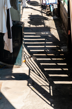 The shadow of the stairs made in the alley Stok Fotoğraf