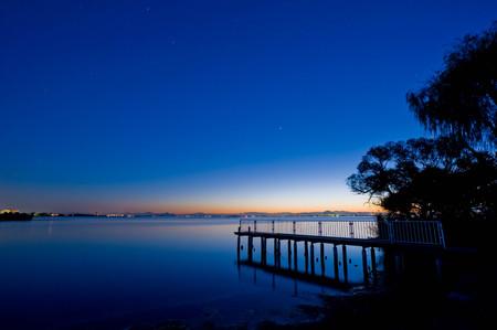 A dawning lakeside harbor