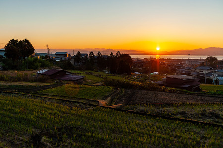 Sunrise of Lake Biwa seen from rural area of Shiga Stok Fotoğraf - 122051244