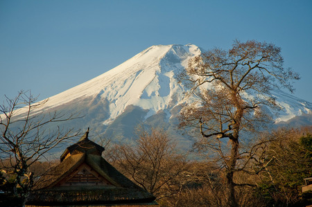 A landscape of Japan with snowy Mt. Fuji