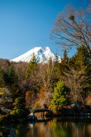 Snowy Mount Fuji and Japanese Garden Pond