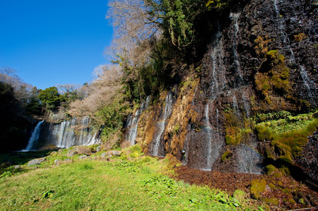 A long, wide waterfall