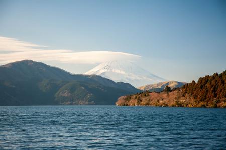 Snow and Mt. Fuji and Lake