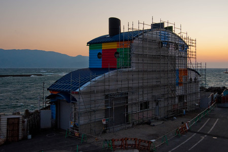 Construction site of colorful building