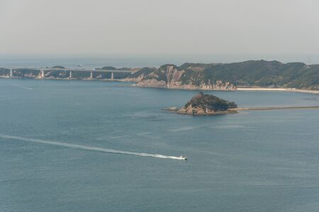 White waves created by ships sailing the Seto Inland Sea