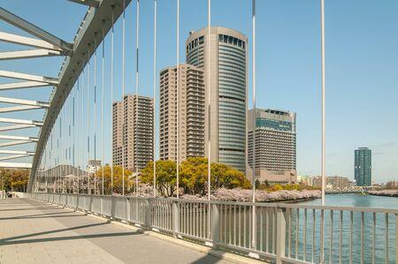 Interesting shaped bridge and skyscrapers Stok Fotoğraf