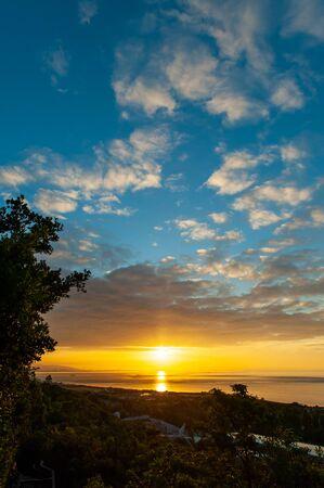 Beautiful orange sunrise and blue sky Stok Fotoğraf