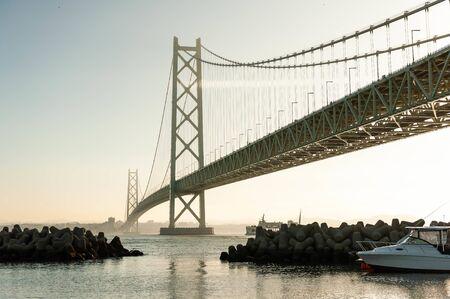 A huge suspension bridge between Asaka and Akashi Stok Fotoğraf