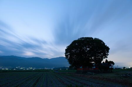 Dawn countryside and flowing clouds Stok Fotoğraf