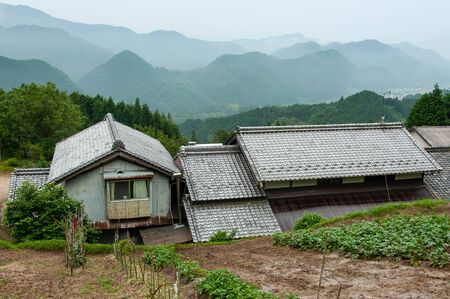 Farmers and fields in the mountains 写真素材