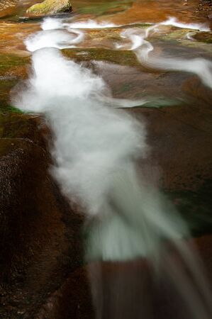 Brown rock and water flow