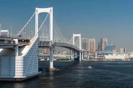 A huge suspension bridge over the sea in Tokyo 写真素材