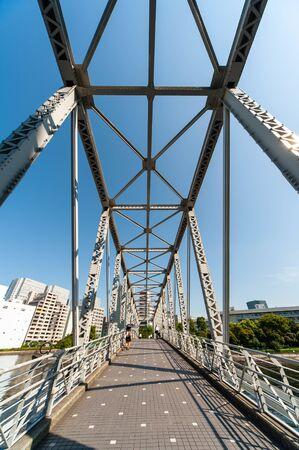 Blue sky and urban bridge and shadow
