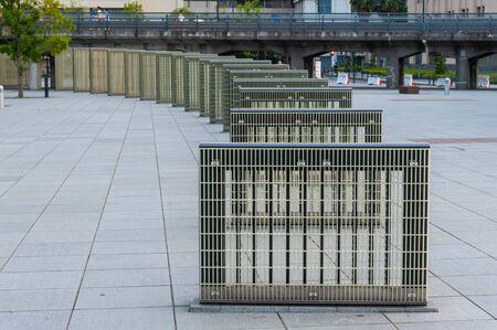 An object installed in a plaza in Yokohama