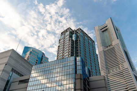 Interesting clouds and buildings in Yokohama 写真素材
