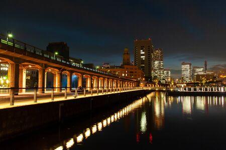 Yokohama port at dusk with orange lighting 写真素材