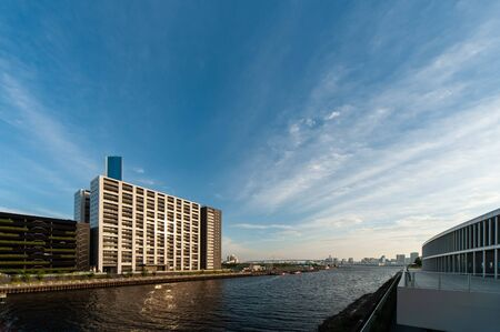Evening blue sky and Tokyo bay area 写真素材