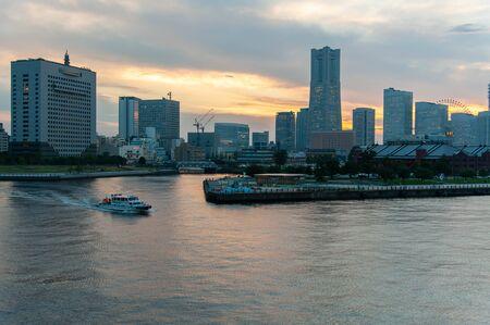 Dusk in Yokohama where the ship is sailing
