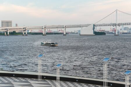 A ship sailing in Tokyo Bay in the evening 写真素材