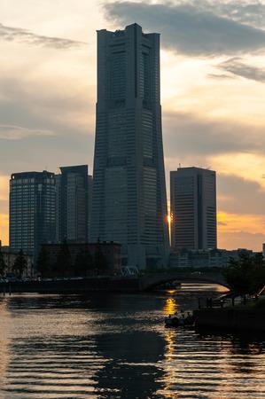 Beautiful sky dusk and buildings in Yokohama