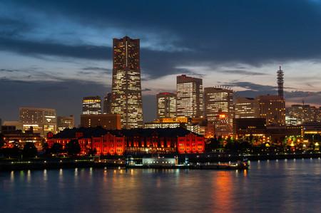 Illuminations and sky in Yokohama at dusk
