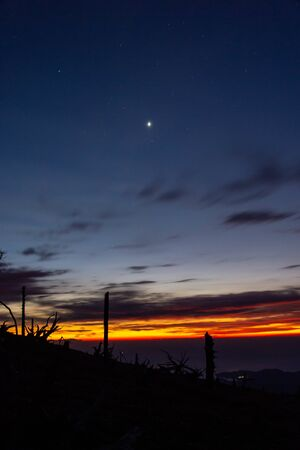 Venus as seen from the mountain at dawn