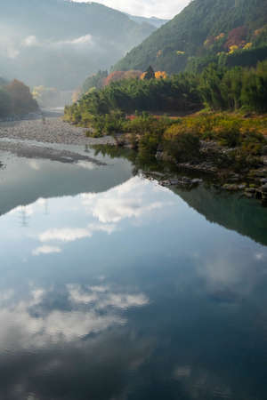 Blue sky reflected in the surface of the river