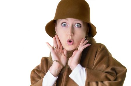 surprised lady in hat and coat with fur Stock Photo - 262754