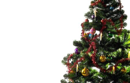 christmas tree decorated on the white background with copyspace