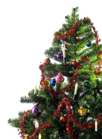 christmas tree with decorations and copyspace Stock Photo