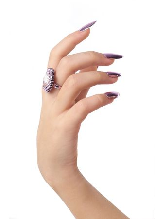beautiful relaxed hand with false nails