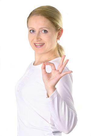 beautiful girl with OK sign