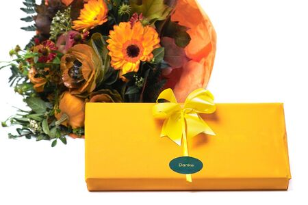 chocolate box with flowers photo