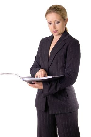 buisness woman: business woman reading her notes