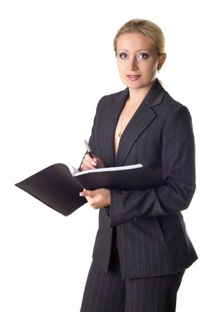 secretarial: Business woman with the notepad writting