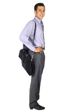 standing business man with briefcase Stock Photo