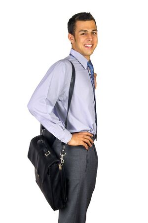 Business man standing with the briefcase