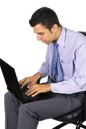 Business man working on his laptop photo