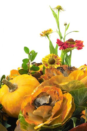 autumn floral composition with flowers and pumpkin Stock Photo - 284092