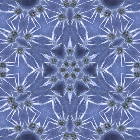 flower mandala in blue ice style Stock Photo