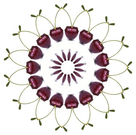 red cherry with water drops mandala