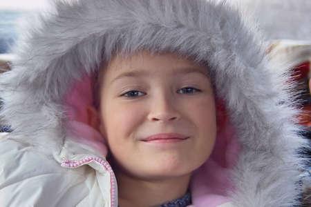 eskimo woman: beautiful girl in fur parka Stock Photo