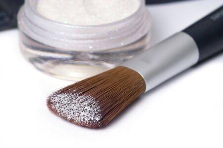 perl: make up brush with glittering perl powder Stock Photo