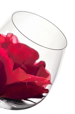 wine glass in backlight with red flower photo