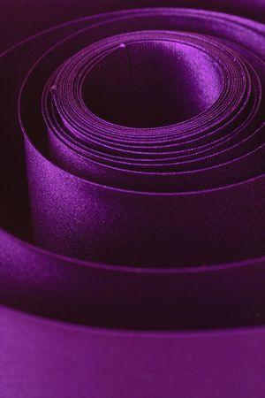 violet curly satin ribbon close-up