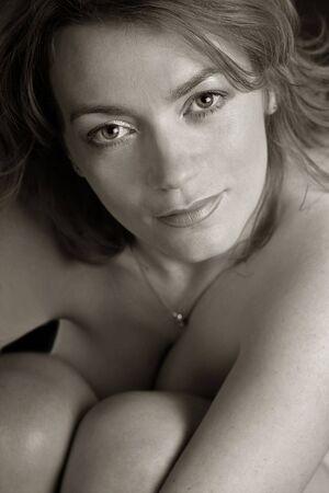 topless beautiful girl in sepia tones