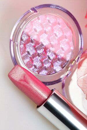rose lipstick and duo eyeshadows over leaf photo